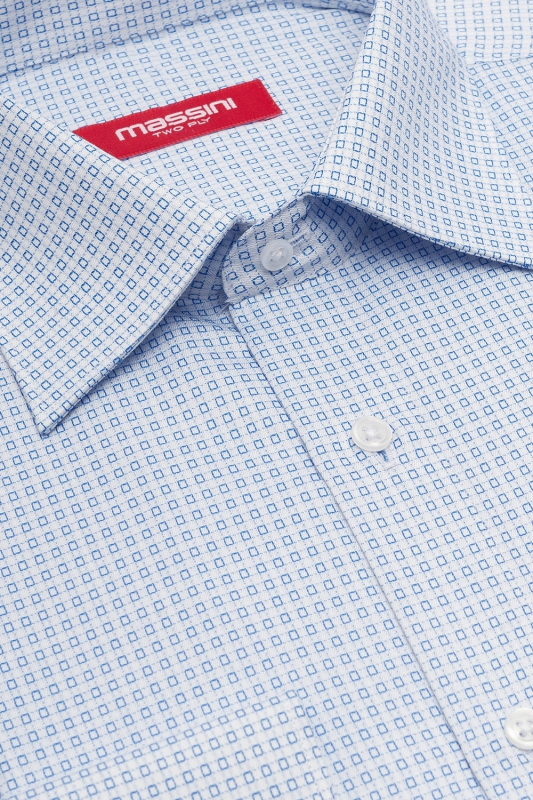 Camasa regular bleu print geometric