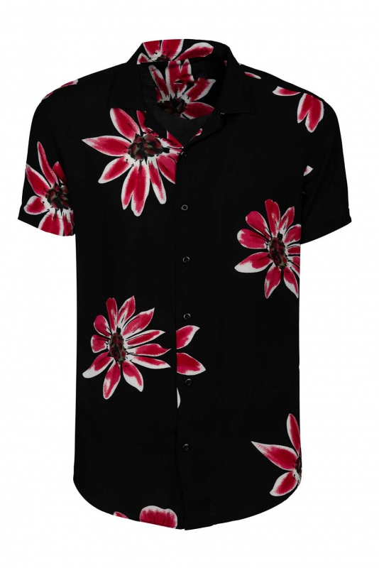 Camasa vascoza slim maneca scurta neagra cu flori
